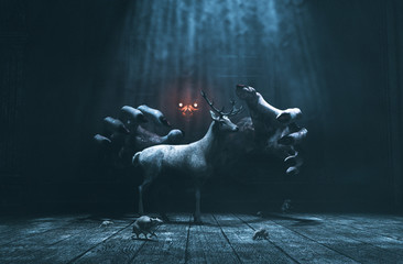 Offering,Pity lost deer in abandoned place with monster whom hiding and waiting for their prey,3d illustration