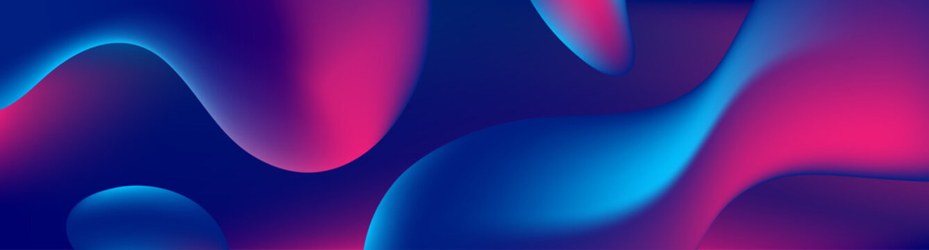 Abstract blue and purple liquid wavy shapes futuristic banner. Glowing retro waves vector background