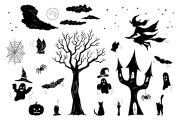 Set of black objects for Halloween isolated on white background; Hand drawn doodle silhouettes of bats, cats, tree, castle, spiders, ghosts, pumpkin, moon and witch; Vector illustration