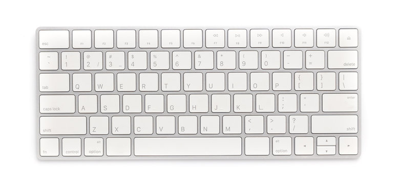 Top view keyboard isolated white background