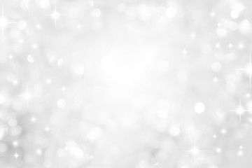 abstract blur white  and silver color background with star glittering light for show,promote and advertisee product and content in merry christmas and happy new year season collection concept	 Papier Peint