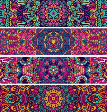 Festive colorful ornamental vector ethnic banner bundle