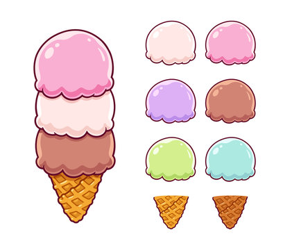 Cartoon ice cream set