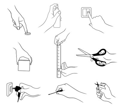 Vector set of outline, various hand actions and gestures, isolated, in black color, on white background.