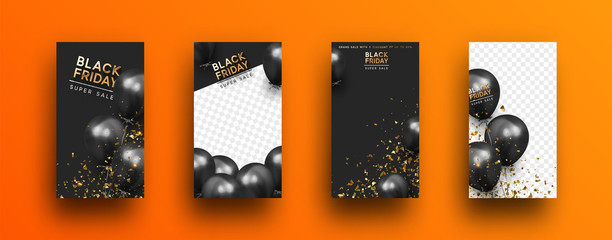 Black Friday. Festive background with helium balloons. Poster, banner, happy anniversary. 3d object ballon with ribbon and confetti. Story template, copy space for text. social media. Social network