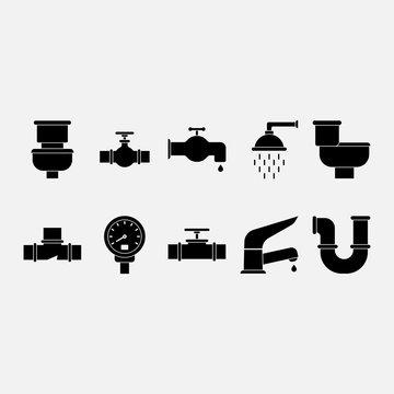 Plumber Tools Glyph Icon Set. Pixel perfect