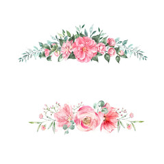 Beautiful composition of watercolor flowers and leaves. Wedding invitations, decor, cards and posters.