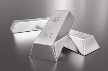Three silver ingots or bars over silver metallic background - precious metal or money investment concept, 3D illustration