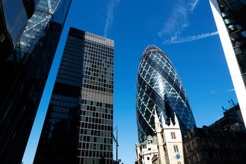 St. Mary Axe and skyscrapers in 13 September 2019. London ( UK )