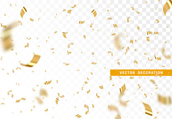 Fototapete - Falling shiny golden confetti isolated on transparent background. Bright festive tinsel of gold color.