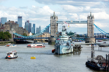 HMS. Belfast cruiser and Tower bridge in 07. September 2019. London ( UK )