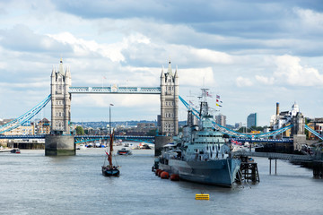 HMS. Belfast cruiser and Tower bridge in 07. September 2019. London ( UK )