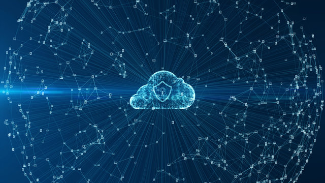 Cloud computing and cyber security concept.