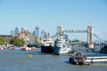 HMS. Belfast cruiser and Tower bridge in 13. September 2019. London ( UK )