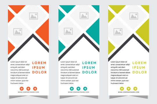 Set of modern vertical banners. Business templates. Cover design template, easy editable abstract vector layouts. Pattern made from squares, white background. layout space for photo collage