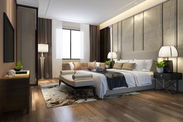 Fototapeta 3d rendering beautiful luxury bedroom suite in hotel with tv and working table obraz