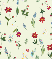 Retro vintage floral seamless repeat pattern with gentle flowers on an off-white ground