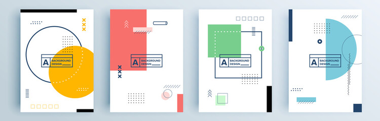 Modern abstract covers set, minimal covers design. Colorful geometric background, vector illustration. Fotobehang