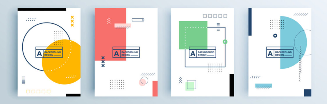 Modern abstract covers set, minimal covers design. Colorful geometric background, vector illustration.
