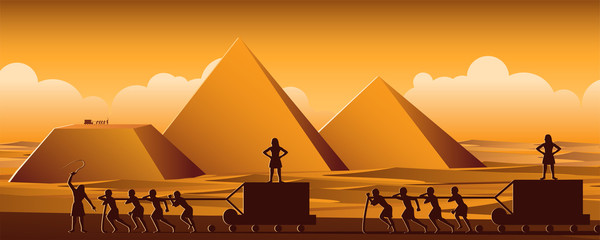 Building Pyramid in Egypt in ancient time use men to be slave the whole day,cartoon version