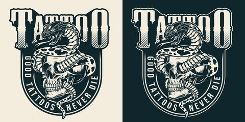 Vintage tattoo studio monochrome label