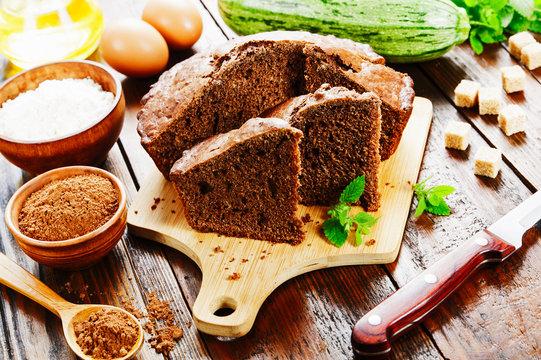 Zucchini cake with cocoa powder