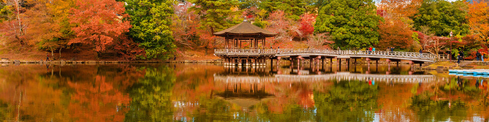 Scenic view of Nara public park in autumn, with maple leaves, pond and old oriental pavilion reflected in the water - fototapety na wymiar