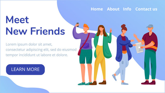 Meet new friends landing page vector template. Teens lifestyle website interface idea with flat illustrations. Generation Z homepage layout. Using gadgets web banner, webpage cartoon concept