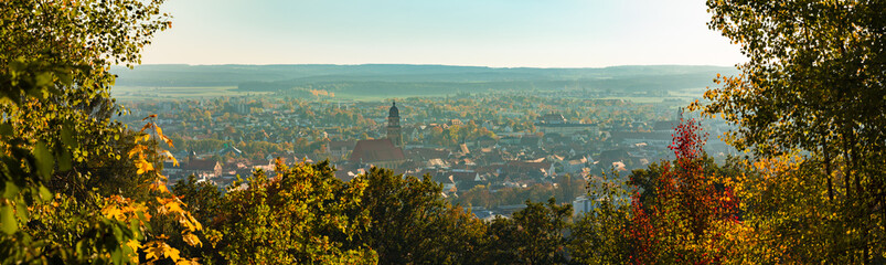 Panoramic view of historic old town Amberg, Germany Bavaria