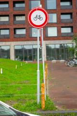 Dutch road sign no access bicycles