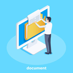 isometric vector image on a blue background, business concept, a man pulls out a document from a folder on a computer screen, office work with documentation
