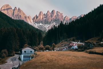The landscape around Santa Magdalena Village, Dolomites, Italy