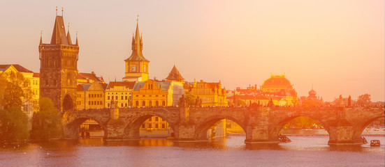 Tuinposter Oranje eclat Prague sunset architectural view, Czech Republic. Charles bridge panoramic view.