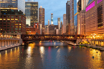 Chicago downtown evening skyline river bridge buildings 2019 September