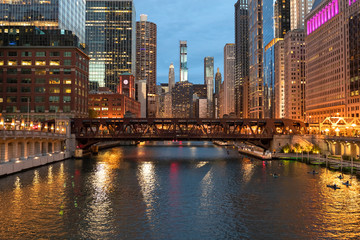 Fototapete - Chicago downtown evening skyline river bridge buildings