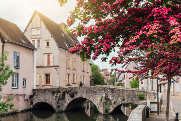 Fotomurales - Eure River embankment with old houses in a small town Chartres, France