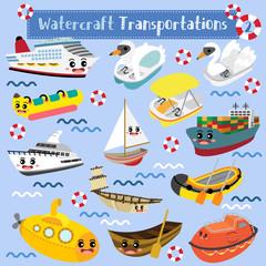 Obraz Watercraft Transportations cartoon set in perspective view vector illustration set 2 - fototapety do salonu