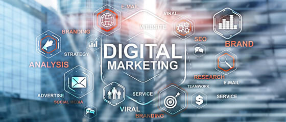 Digital Marketing. Mixed Media Business Background. Technology