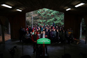 Liberal leader and Canadian Prime Minister Justin Trudeau attends a press conference after a tree planting during an election campaign visit to Plainfield