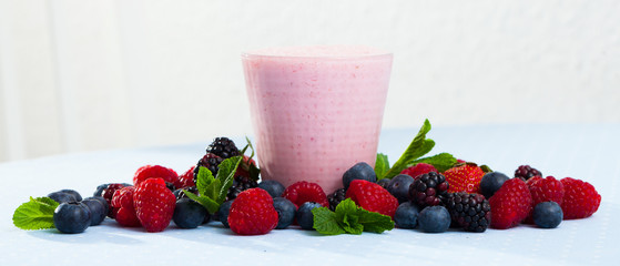 Smoothie with milk and berries