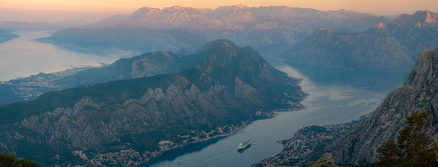 Spoed Foto op Canvas Groen blauw Kotor Bay during sunrise - high resolution panorama