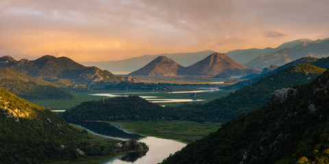 Fotomurales - famous bend of the Rijeka Crnojevica river flowing into Lake Skadar in Montenegro
