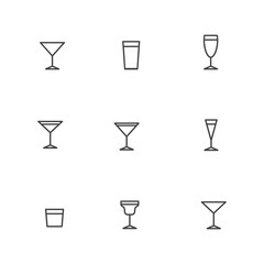 vector grey outline alcohol glasses icon set.