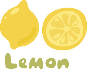 Yellow lemon vector icon isolated on white background. Lemon icon eps clip art. Lemon slice vector icon illustration on white background. Fresh sour vector lemon icon