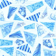 Hand-painted royal blue doodle watercolor polygon shapes on sky blue stripes in a seamless pattern design