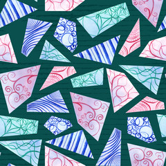 Hand-painted pastel colored doodle watercolor polygon shapes on dark green in a seamless pattern design