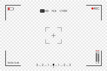 Camera frame viewfinder. Screen of video recorder, video camera digital display template on transparent background. Vector illustration.