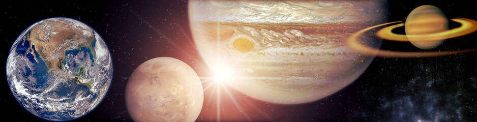 planets in the row Solar system in the starry universe panorama Elements of this image furnished by NASA