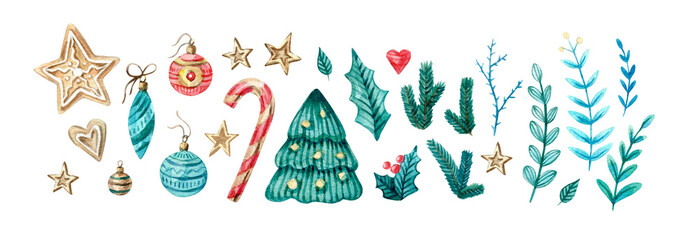 Watercolor set of Christmas and new eyear elements. Cute twigs, candies, cukies, stars, mistletoe, decorations . Watercolor isolated illustration for winter cards, posters, invitations, banner.