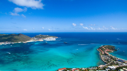 High Beautiful Aerial view of the island of Sint Maarten. Cruise port on point blanch.